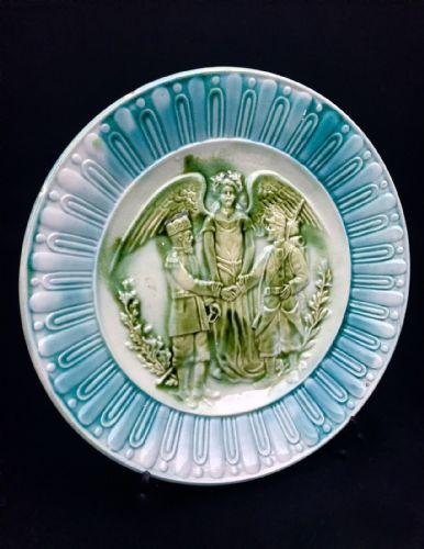 Antique Majolica Plate Nonaing French Commemorative Alliance of France / Russia